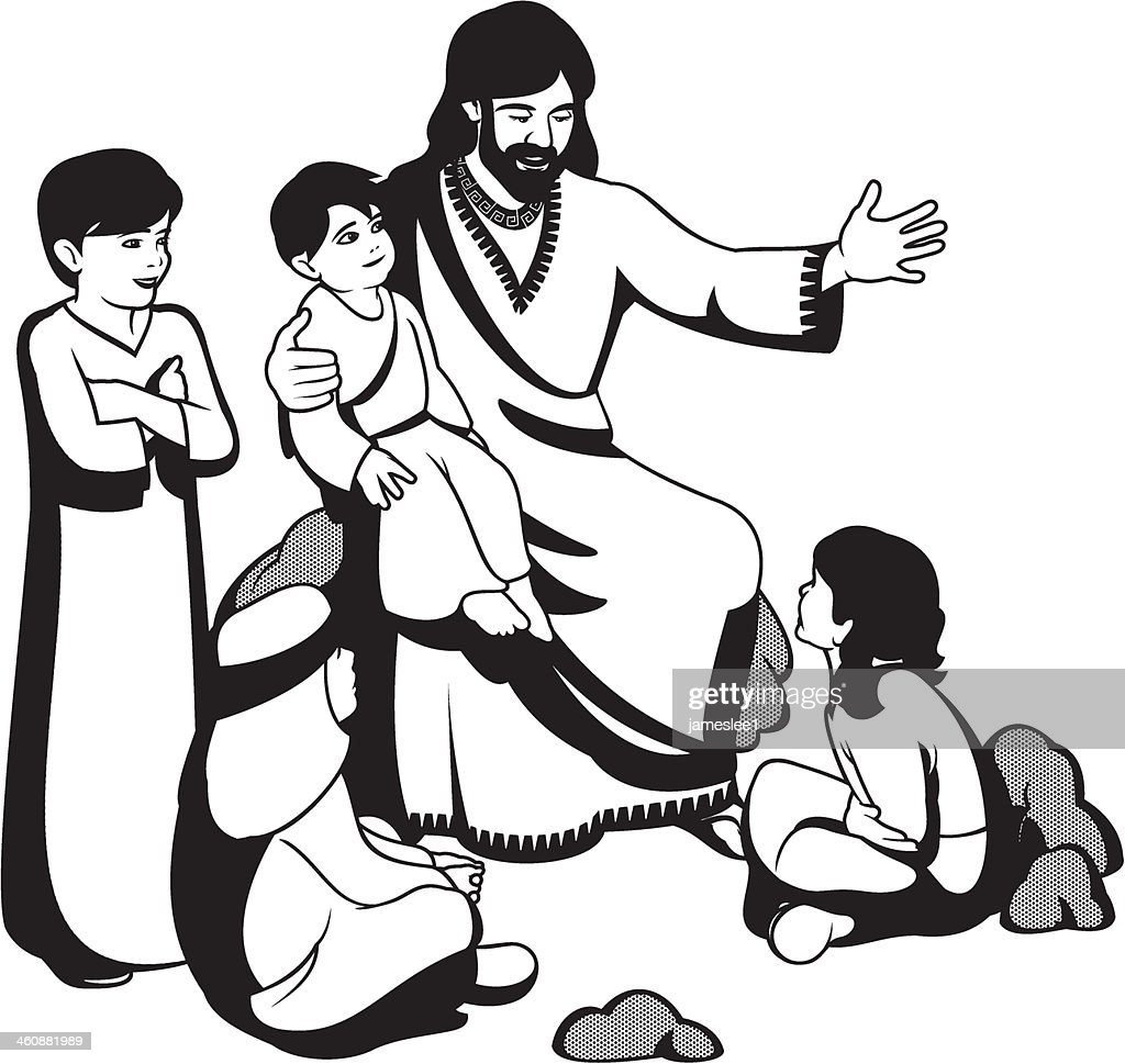 an illustration of jesus christ together with four children vector