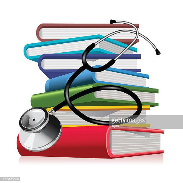 An illustration of medical text books and a stethoscope