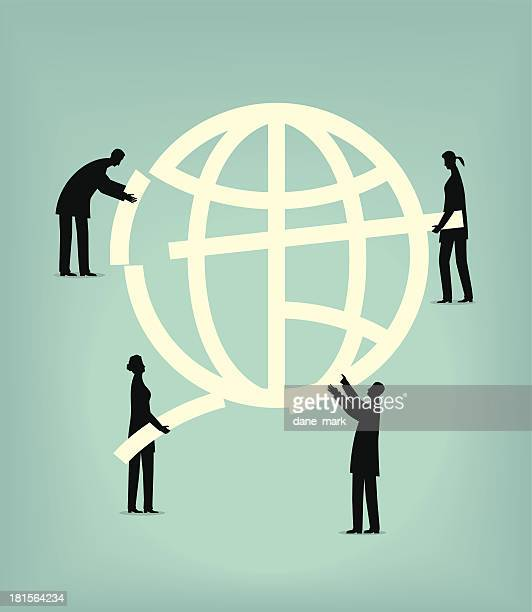 An illustration of people building a globe