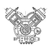An internal combustion motor. The drawing engine of the machine in section, illustrating the inner structure - the cylinders, pistons, the spark plug. To illustrate technical topics.