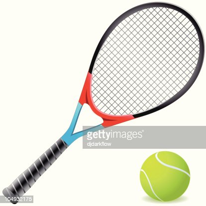An orange and blue tennis racket with a tennis ball : stock vector