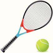 Tennis racket and tennis ball generated with Illustrator isolated on white