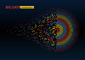 Abstract colorful big data machine learning algorithm visualization.