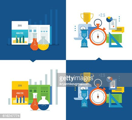 Analysis, strategy studies, acquisition of knowledge, project management, time : Arte vettoriale