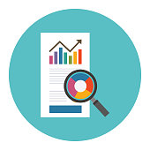 Analytics data research icon vector