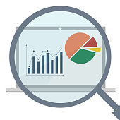 Analytics display with magnifier. Business analytics market data. Vector