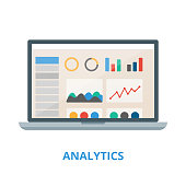 Analytics vector illustration. Laptop with charts and graphs.