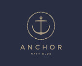 Anchor emblem with circular rope frame . Yacht style design. Nautical sign, symbol. Universal icon. Simple icontype template. Vector illustration.