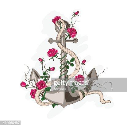 Anker bleistiftzeichnung  Anker Genannt Mit Rosa Blumen Vektorgrafik | Thinkstock