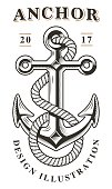 Monochrome illustration of anchor with rope on white background. Text is on the separate layer.
