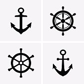 Anchors and Rudder Icons. Vector for web
