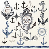Collection of anchors, labels for logotype or print design in vintage style. Hand drawn set