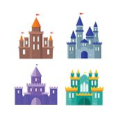 Color Ancient Castle Building Set. Flat Design Style. Vector illustration