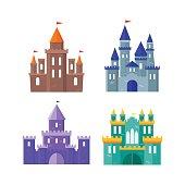 Color Ancient Castle Building Set. Flat Design Style. Vector illustration