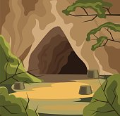 Ancient cave. Vector flat cartoon illustration