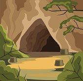 Ancient cave. Vector flat cartoon illustration