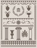 Collection of various ancient greek and roman design elements