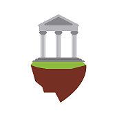 ancient greek building on floating land icon image vector illustration design