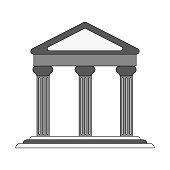 ancient greek building on floating land icon image vector illustration design image vector illustration design