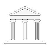 ancient greek building on floating land icon image vector illustration design  black line