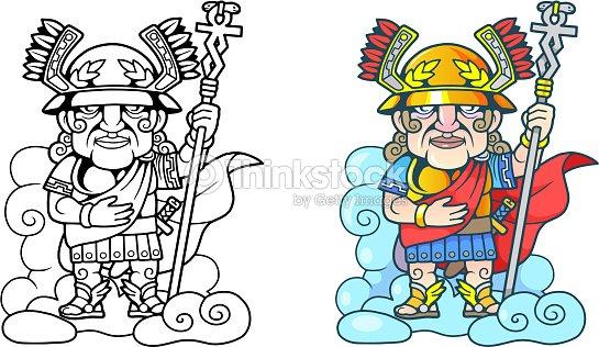 Antiguo Griego Dios Hermes En La Nube Ilustración Divertido Libro ...