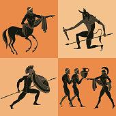 Ancient Greek mythology set. Ancient Greece scene. Black figure pottery. Classical Ancient Greek style. Minotaur, gods, hero, mythology