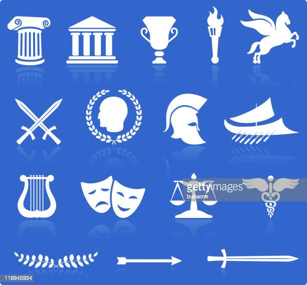 Ancient Greek royalty free vector illustration knockout white on blue