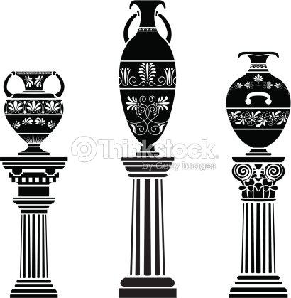 Ancient Greek Vase On Column Vector Art Thinkstock