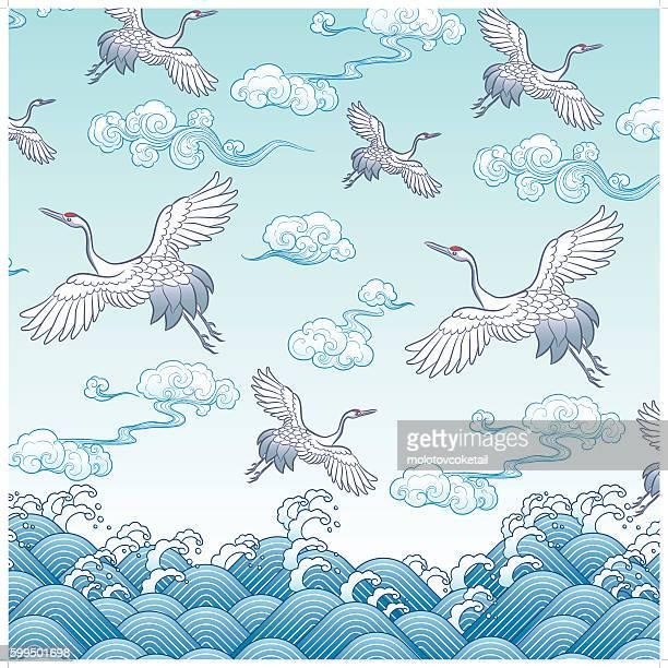 ancient oriental crane painting