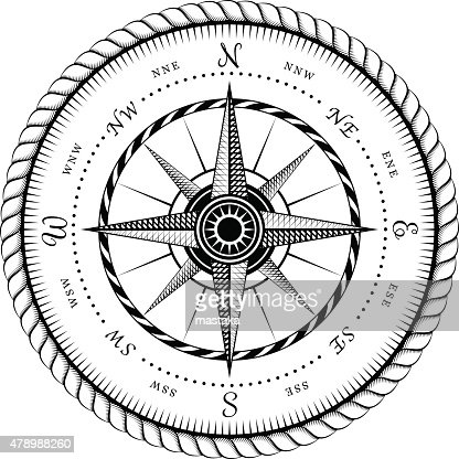 Ancient Sign Of Wind Rose Engraving Stylized Vector Art