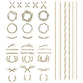 Hand drawn illustration. Vintage decorative lovely set of laurels, branches and wreaths. Doodle greek ancient  wreath, text dividers and borders with laurel leaves, decorative design elements