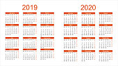 2019 and 2020 year calendar. Vector illustration