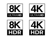 Black 8K and 4K Ultra HD & HDR Sign Vector Set on the White Background