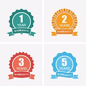 1, 2, 3 and 5 years Warranty Icons isolated on Certified Medal. Flat vector