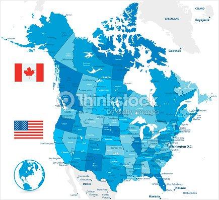 Usa And Canada Large Detailed Blue Map Vrgrafik   Thinkstock Detailed Usa Map on