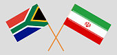 RSA and Iran. The South African and Iranian flags. Official colors. Correct proportion. Vector illustration