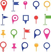 GPS and Navigation colored Icons on white background. Vector illustration.