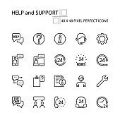 HELP and SUPPORT vector line 48x48 Pixel Perfect Icons, Editable Stroke.