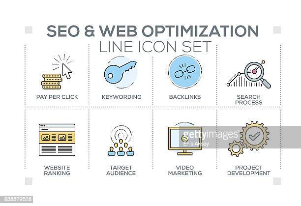 SEO and Web Optimization keywords with line icons