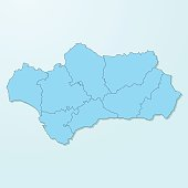 Andalusia blue map on degraded background vector