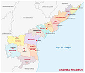 Andhra Pradesh administrative and political vector map, India
