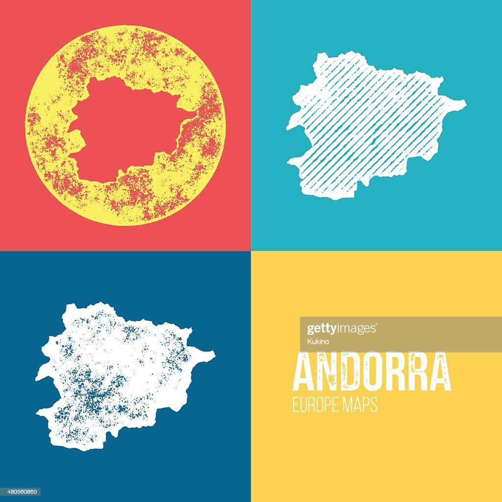Andorra Grunge Retro Map : Vector Art