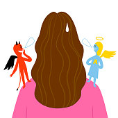 Woman making a choice. Angel and devil on her shoulders. Concept illustrations for your design.