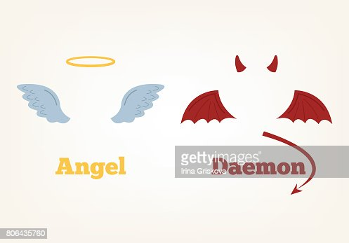 Angel and devil suit elements. Good and bad : stock vector