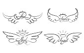 Angel wings drawing vector illustration. Winged angelic tattoo icons. Wing feather with halo, artistic artwork sketch