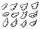 Cartoon wings vector illustration.