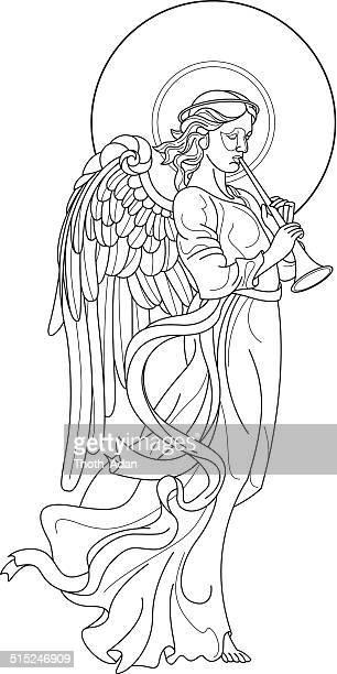Angel mit Flöte Zeichnung auf weißem Hintergrund