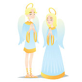 Angelic couple. Cute young boy and girl in style of Angels praying. Vector illustration of spiritual creatures in flat cartoon style on a white background. Element for design, prints, greeting card.