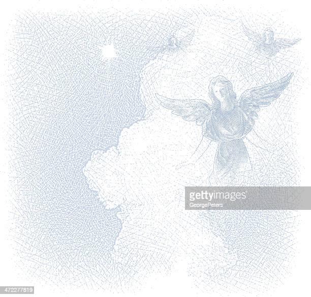 Angels und Wolkengebilde im Hintergrund