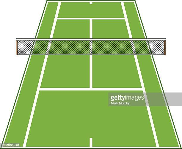 Angled Tennis Court with Net.
